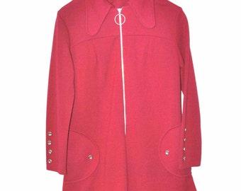CRANBERRY red MOD mini dress vintage 60s 1960s RETRO red wool Twiggy dress medium