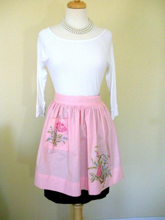 Gorgeous Pink Cross Stitch Vintage Half Apron