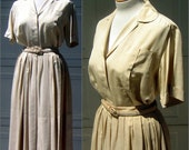 RESERVED for Isabelle Silk Pongee Dress Set Vintage 50s Blouse Skirt Matching Belt Custom Tailored - Exceptional Quality