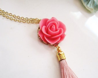 Pink Flower Necklace, Bohemian, Pink Tassel Necklace, Gold Necklace, Vintage Style Necklace, Gardendiva