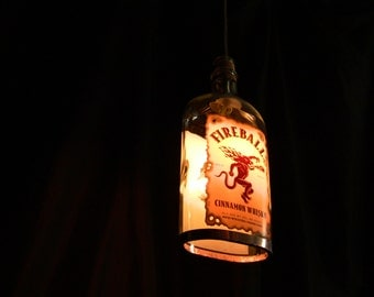 Fireball Whiskey Bottle Pendant Lamp with Shiny Copper Trim