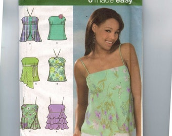 Misses Sewing Pattern Simplicity 4587 Misses Strapless Spaghetti Strap High Empire Waist Top Size 4 6 8 10 or 12 14 16 18 UNCUT