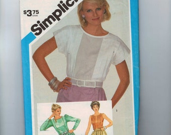1980s Vintage Sewing Pattern Simplicity 6464 Misses Blouse with Front Pleats Size 10 Bust 32 1/2 Waist 25 UNCUT