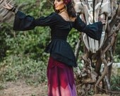 New! PIRATE QUEEN BLOUSE - Burlesque Steam punk Steampunk Burning Man Wedding Bride Gypsy Witch Cabaret Couture Plus size - Black