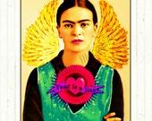 Frida Kahlo Poster Instant Digital Download Fear Is A Liar Retro Art Print Boho Vintage Modern Home Deco Green Purple Red Gold Portrait