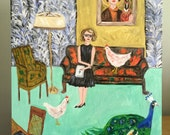 Flannery at home in Andalusia. Original oil painting by Vivienne Strauss.