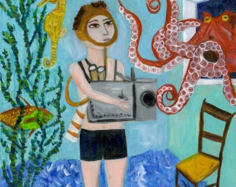 The love life of the octopus. Original oil painting by Vivienne Strauss.