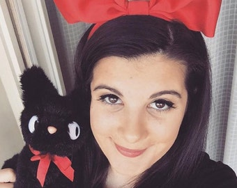 Red Satin Bow Headband, Red Hair Bow, Women's Hair Accessory, Girl's Bow Headband, Halloween Costume, Mouse Costume, Alice Band, Cosplay Bow