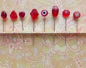 Assortment of Red Straight Pins - Set of 8 Assorted Mixed Sizes and Styles