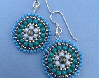 turquoise medallion seed bead stitched earrings