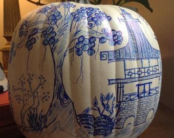 Ready to ship! Blue & White Chinoiserie Faux Pumpkin