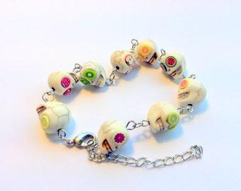 Summer Fruit Salad Day of the Dead Sugar Skull Adjustable Chain Bracelet