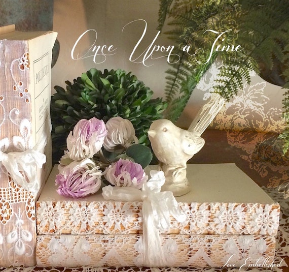 One Book Stack Bundle with Antique Lace Trim Vintage Early Mid Century Distressed Book Stack