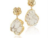 Statement Earrings Stone color dangle chandelier drop stone white turquoise marble gold earrings