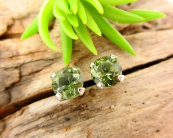 Moldavite Studs - Genuine Moldavite Stud Earrings, Real 14k Gold, Platinum, or Sterling Silver - 4mm, 5mm
