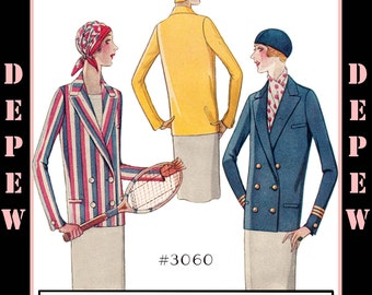 Vintage Flapper Sewing Pattern Reproduction Ladies' 1920's Blazer Sport Jacket #3060 - INSTANT DOWNLOAD