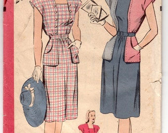 """Vintage Sewing Pattern 1940's Ladies' Dress Hollywood 1539 Size 34"""" Bust - Free Pattern Grading E-book Included"""