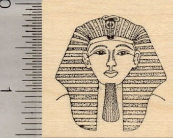 Egyptian King Tut Rubber Stamp, Pharaoh Tutankhamun J1105 Wood Mounted