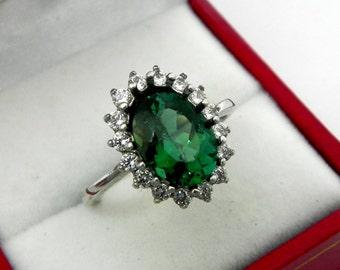 Teal Diamond Ring Etsy