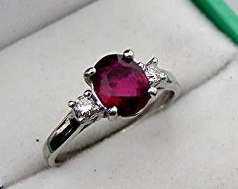 AAA Natural Filled Ruby 7.5x6mm 1.46 ct  with .14 cts of Diamonds 14K White gold ring T86  1760