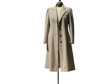 Vintage Tan Wool Slim Fit Princess Coat