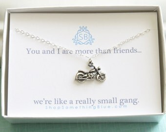 Best Friend Gift • Motorcycle Necklace • BFF • Gang Of Two • Tough Girls • Motorcycle Pendant • Badass Girls • Biker Necklace