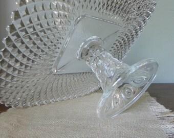 Vintage clear glass cake stand pedestal square shape wedding decor reception dinner