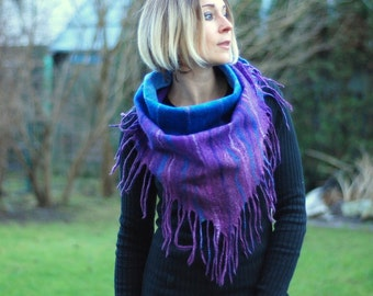 Felted  scarf, wrap, shawl made of Merino wool handfelted HANDMADE TO ORDER 60 colors to choose