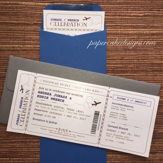 Boarding Pass Airline Ticket Invitation / DIY Printable PDF