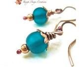 Teal Earrings Turquoise Earrings Blue Green Earrings Copper Gift for Women Sea Glass Beads Dangle Earrings Gift Under 20 Stocking Stuffers