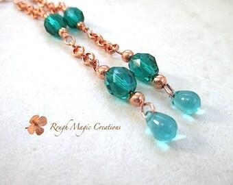 Teal Shoulder Duster Earrings, Extra Long Drop Length, Emerald Green Teal Glass, Teardrops, Copper Chain Earrings, Boho Gift for Women  E355