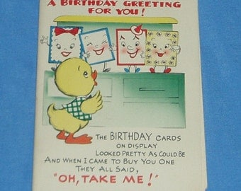 Vintage 50s Huge Fold Out Greeting Card Birthday Card UNUSED