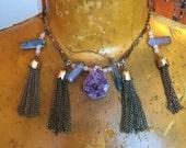 SALE Choker Necklace // Amethyst Geode // Unicorn Titanium Crystal // Rose Quartz // Boho Jewelry // Natural Stone // Pastel Goth