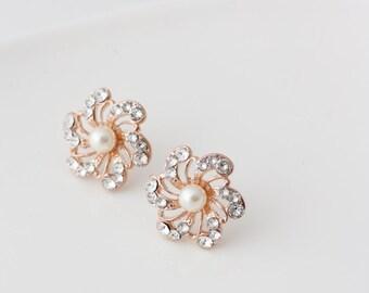 Pearl Bridal Earrings Crystal Flower Vintage Wedding Earrings Stud Post Earrings Rose Gold Wedding Jewelry SABINE POST