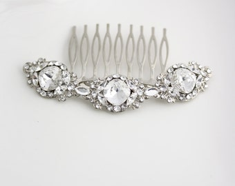 Crystal Wedding Hair Comb Crystal Bridal Comb Wedding Hair Accessory Rhinestone Comb Art Deco Veil Comb ESTELLA