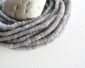 off white seed bead, matte soft grey lilac glass beads, barrel tube bead, small irregular spacer bead, indonesian 3 to 6mm (22 inch)6bb1-35