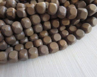 cube wood beads , painted grey brown , finished wood ,   faceted wooden beads,. exotic natural material Indonesian , 7-8mm ,50 beads  5A19-2
