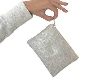 Small Clutch, Small Wristlet, Mini Clutch,  Small Zippered Bag, Silver Bag, Metallic Bag, Small Linen Clutch, Stocking Stuffers, purse