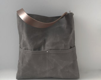 Gray Bucket Bag, Casual Tote Bag, Handbag, Hobo Tote, Waxed Canvas Bags