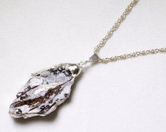 Rare Stone Pendant Astrophyllite Pendant Silver Dipped Astrophyllite Necklace Astrophyllite Jewelry Raw Stone Necklace Astro-P-100-020s