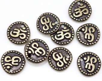 Antique Brass Charms - TierraCast OM COIN Drop - Aum Om Charms - Yoga Zen Meditation Jewelry Supplies (P1078)