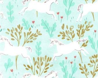 Sarah Jane Unicorn Forest Aqua Magic! Michael Miller Fabric 1 yard