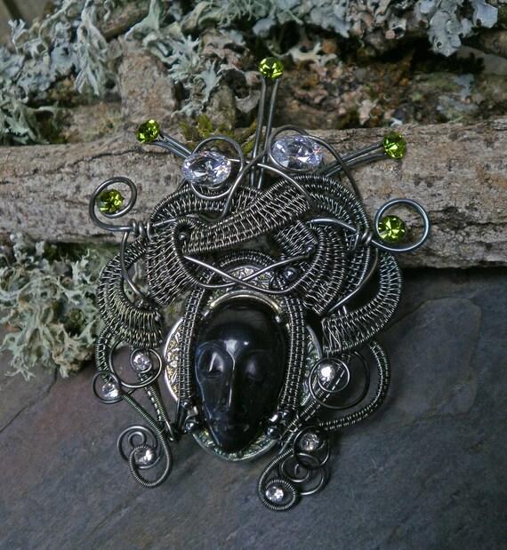 Gothic Steampunk Dark Queen Pin Brooch Pendant