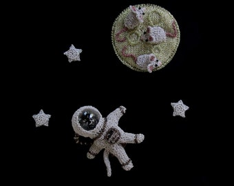 Astronaut cat, mice on a cheese moon and stars brooch set - outa space brooch, cute animal jewelry