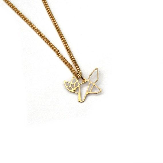 gold fox necklace geometric fox fox charm necklace woodland