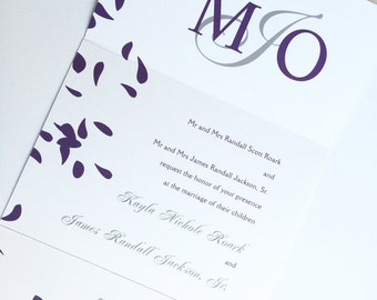 Purple Wedding Invitation, seal and send Modern Wedding Invitations, Elegant invitation, unique invitation, simple Invite, causal invitation