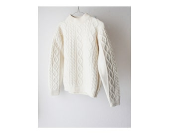 1970's Cabin Knit Neutral Off White Chunky Sweater