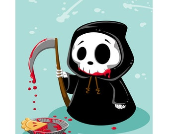 Don't Fear the Reaper - Cute Halloween Grim Reaper with Cherry Pie 8x10 Print by Geri Shields