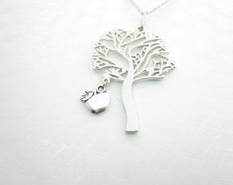Tree Necklace, Apple Tree Necklace, Tree Charm Necklace, Silver Tree Pendant Necklace, X013