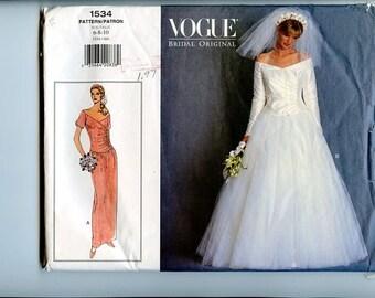 Vogue Bridal Original Pattern 1534 Shaped Dropped Waist Bodice Wedding Dress Or Straight Skirt Evening Gown UNCUT sz 6,8,10 Bust 30 31 32